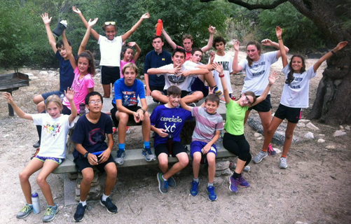 Esperero Canyon Running Club students in Sabino Canyon