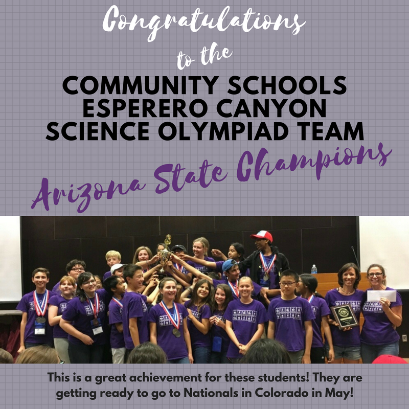 Cs Esperero Canyon Science Olympiad Team wins Arizona State Championship, they will compete in Nationals in May!