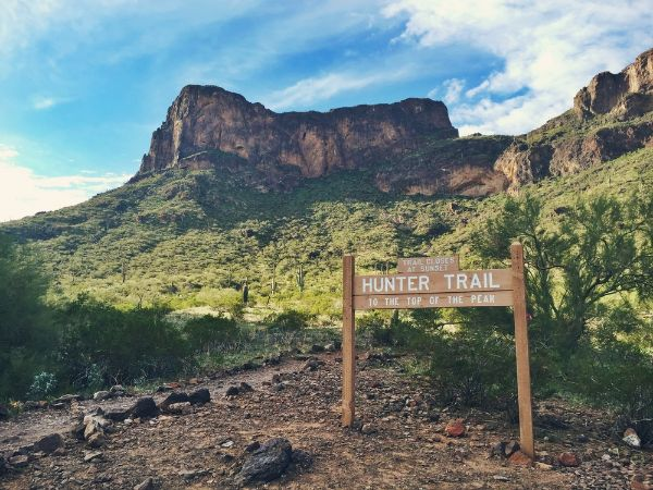 Scenic photo of Picacho Peak's Hunter Trail entrance.