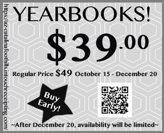 Yearbooks $39.  Regular price $49 October 15 - December 20.  After Dec. 20, availability will be limited.  Buy Early.